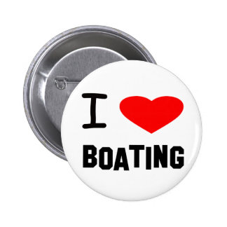 I Heart Boating Pinback Buttons