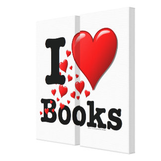I Heart Books I Love Books Trail of Hearts Gallery Wrapped Canvas