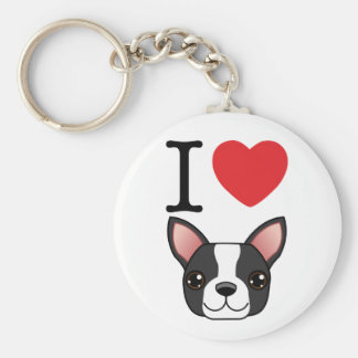 I Heart Boston Terriers Keychain