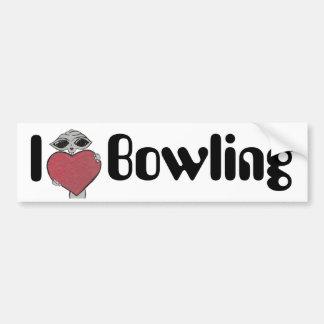 I Heart Bowling Alien Bumper Sticker