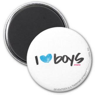 I Heart Boys Aqua 2 Inch Round Magnet
