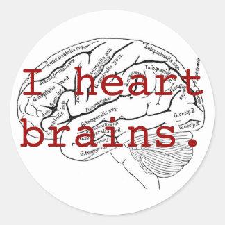 I heart brains. classic round sticker