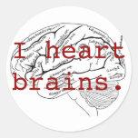 I heart brains. round sticker