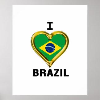 I heart  BRAZIL Flag Poster