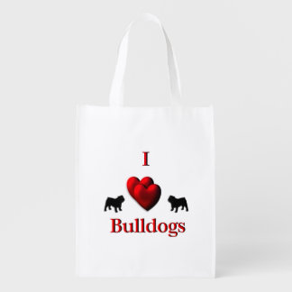 I Heart Bulldogs Reusable Grocery Bag