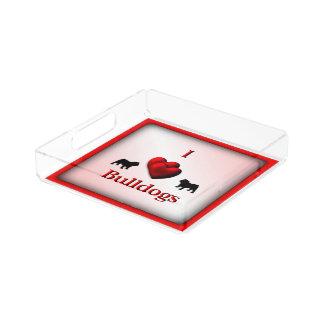 I Heart Bulldogs Square Acrylic Tray