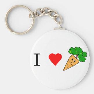 I heart Carrots Basic Round Button Keychain