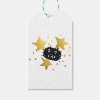 I Heart CAT Gold Stars Gift Tags
