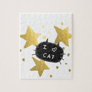 I Heart CAT Gold Stars Jigsaw Puzzle