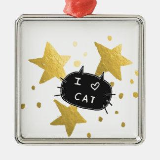I Heart CAT Gold Stars Metal Ornament