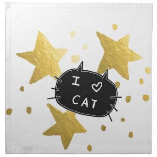 I Heart CAT Gold Stars Napkin