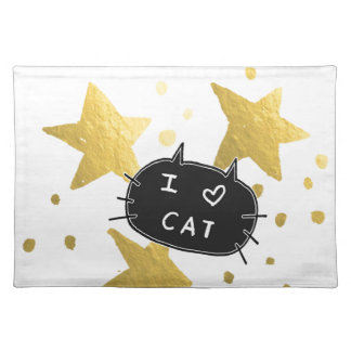I Heart CAT Gold Stars Placemat