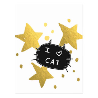 I Heart CAT Gold Stars Postcard
