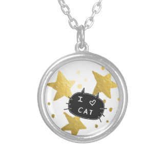 I Heart CAT Gold Stars Silver Plated Necklace