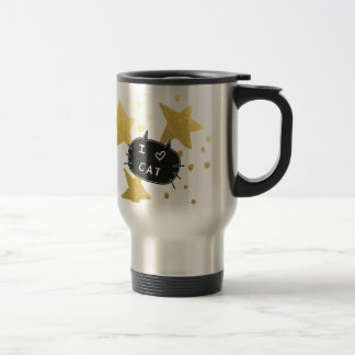 I Heart CAT Gold Stars Travel Mug