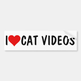I HEART CAT VIDEOS BUMPER STICKER