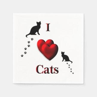 I Heart Cats Paper Napkin