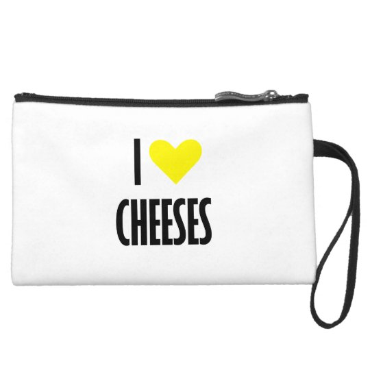 I heart cheeses Sueded Mini Clutch Wristlet