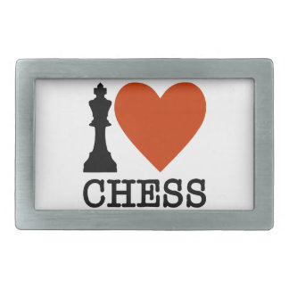 I Heart Chess Rectangular Belt Buckles