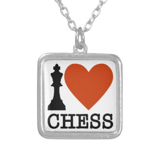 I Heart Chess Silver Plated Necklace