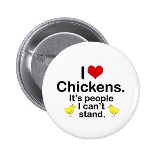 I (Heart) Chickens 2 Inch Round Button