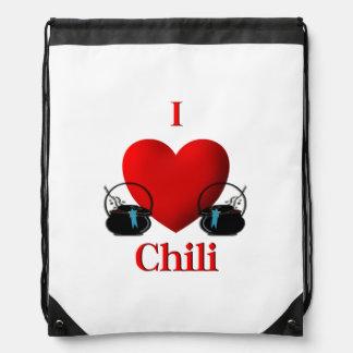 I Heart Chili Drawstring Bags