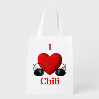 I Heart Chili Reusable Grocery Bags