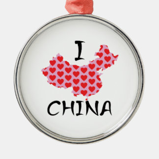 I heart China map Metal Ornament