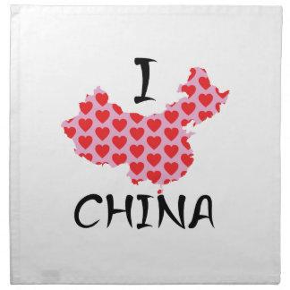 I heart China map Napkin