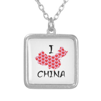 I heart China map Silver Plated Necklace