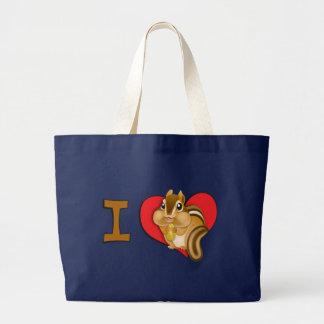 I heart chipmunks large tote bag