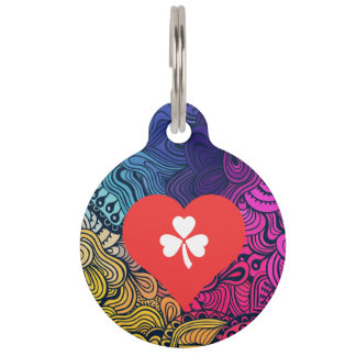 I Heart Clovers Vector Pet ID Tags