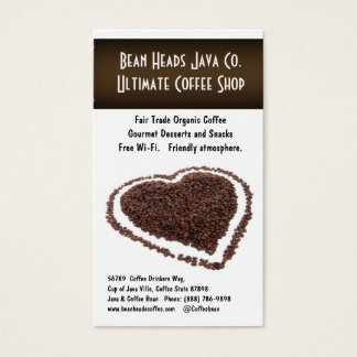 I Heart Coffee!  Heart Shaped Coffee Beans Business Card