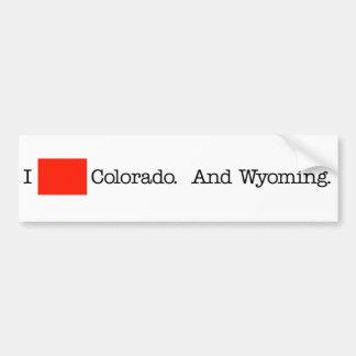 I Heart Colorado. And Wyoming. Bumper Sticker