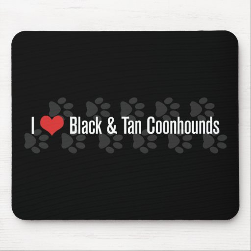 I (heart) Coonhounds (Black & Tan) Mousepad