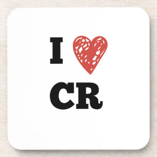 I Heart CR - Cedar Rapids Iowa Beverage Coaster