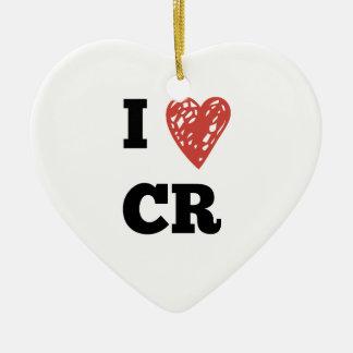 I Heart CR - Cedar Rapids Iowa Ceramic Heart Ornament