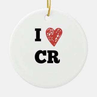 I Heart CR - Cedar Rapids Iowa Round Ceramic Ornament