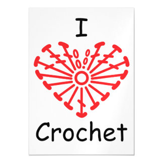 I Heart Crochet -Heart Crochet Chart Pattern Magnetic Invitations
