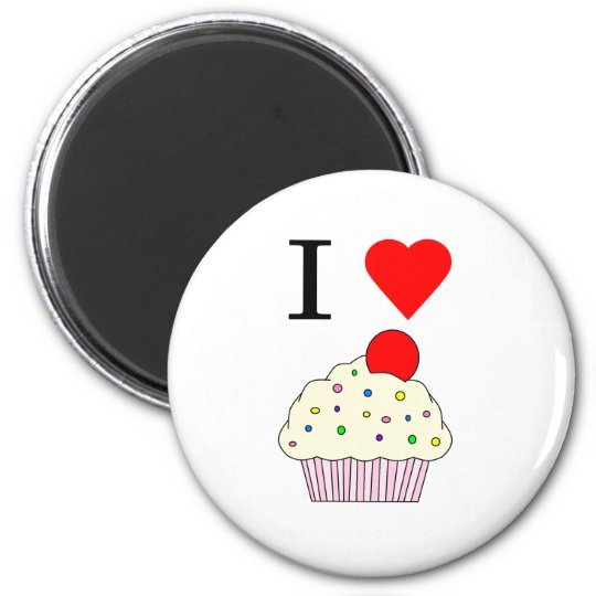 I heart Cupcakes 2 Inch Round Magnet