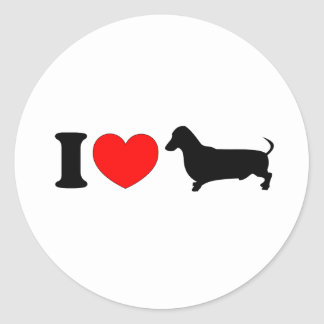 I Heart Dachshund - Landscape Round Sticker