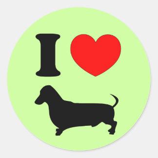 I Heart Dachshund Round Sticker