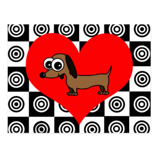 I Heart Dogs - Black ,Red, White Postcard