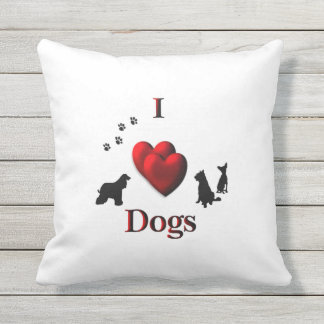 I Heart Dogs Outdoor Pillow