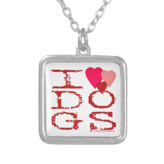 I HEART DOGS SILVER PLATED NECKLACE