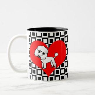 I Heart Dogs - White Poodle Two-Tone Coffee Mug