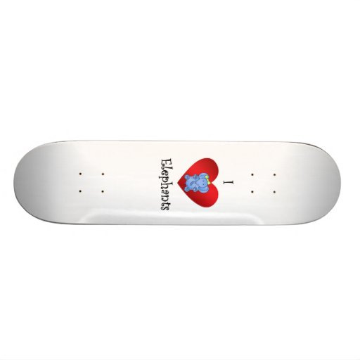 I heart elephants in dark blue and yellow skateboard deck