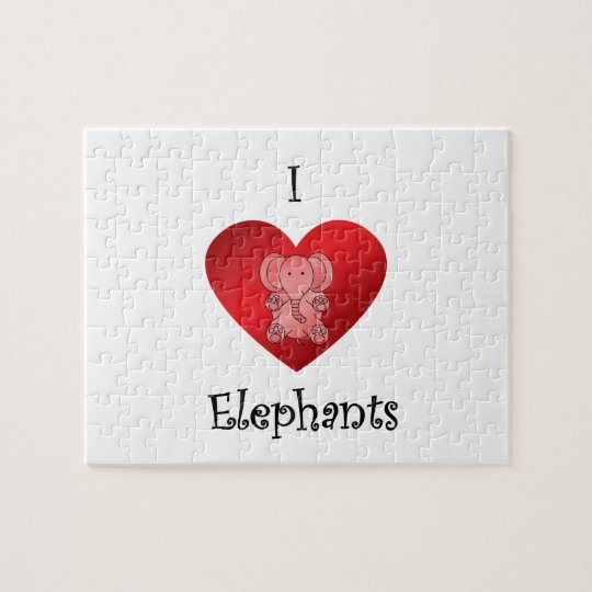 I heart elephants in red jigsaw puzzle