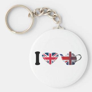 I Heart English Tea, Fun Patriotic Art Basic Round Button Keychain