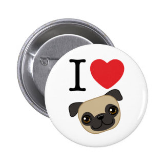 I Heart Fawn Pugs 2 Inch Round Button